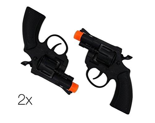 (TK Gruppe Timo Klingler 2X Kostüm für Fasching Karneval Herren und Damen Revolver Pistole Wie Geheimagent, Lara Croft, SWAT, Tomb Raider, Polizei (2X Revolver))
