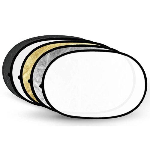 Neewer 5-in-1 Professional faltbarer Multi Scheiben Oval Licht-Reflektor (80x120 cm (31x47 Zoll)) durchlässig/silber/schwarz/gold/weiß