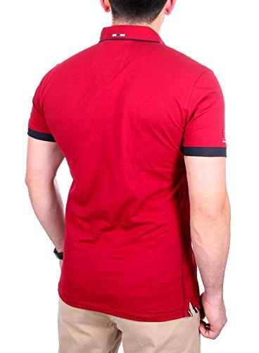 Reslad Polo-Shirt Herren Slim Fit Button-Down-Kragen Polo-Hemd RS-5202 Bordeaux