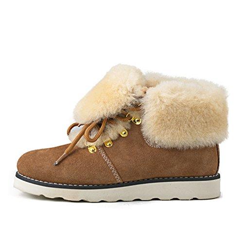 Shenduo - Chaussures fourrées de mouton femme, Bottes & Boots à lacets courtes doublure chaude en laine D9158 Marron