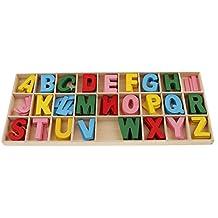 Baosity 156 x de Letras Coloridas de Alfabeto de Madera Atractivos Accesorios Educativos para Estudiantes Duradero