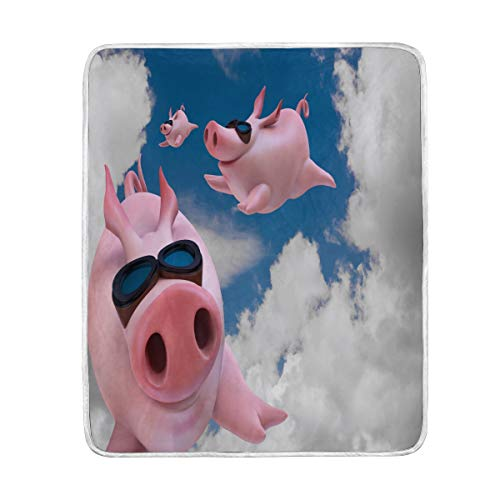 Wamika Home Decor 3D-Decke mit lustigem Schweinchen und Wolkenmotiv, weich, warm, für Bett, Couch und Sofa, leicht, für Reisen, Camping, 152,4 x 127 cm, Überwurfgröße für Kinder, Jungen und Frauen