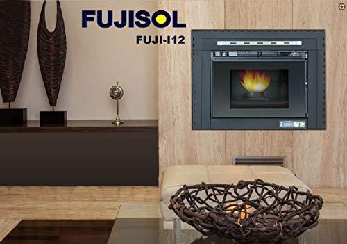 FUJISOL Estufa de pellets insertable/encastrable Modelo I de12kwCristalPlanoChimenea de pellets...
