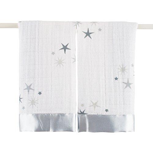 aden + anais twinkle, Schmusetücher, Musselin aus 100% Baumwolle, Rand aus Satin, 40cm X 40cm, 2er Pack -