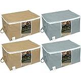 Homestrap Big Underbed Storage Bag/Storage Organiser/Grey & Beige/Set of 4