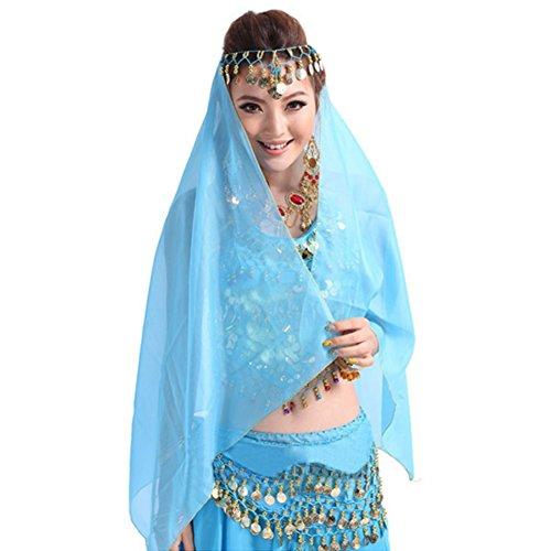 Bauchtanz Kostüm Gesichtsschleier Metall Coin Headwear Chiffon Wrap Schal (Bollywood Kostüm Frauen)