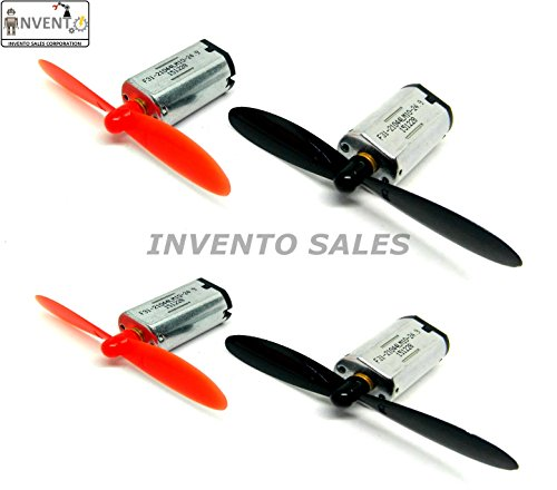 INVENTO N30 3.7 V 25000 RPM Mini Drone DC Motor with 55 m Propeller (10x12x20 mm, Multicolour) -Pack of 4 Pieces