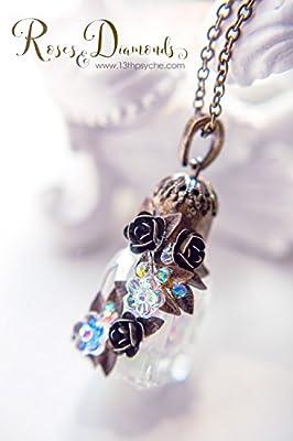 Collier de bouteille de parfum en verre. Collier de fleurs, collier de charme en bouteille miniature, Collier de flacon de parfum, cadeau pour femme, pendentif en bouteille