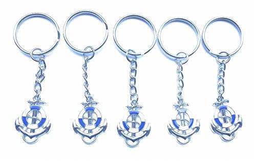 FizzyButton Gifts Set von 5 Blauen und weißen Emaille Segelschiffe Anker und Rettungsring Schlüsselbunden für Geburtstags-Party Tasche Füllstoffe