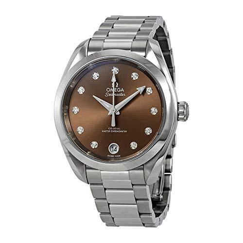 Omega Aqua terra automatico diamante Brown quadrante orologio da donna 220.10.34.20.63.001