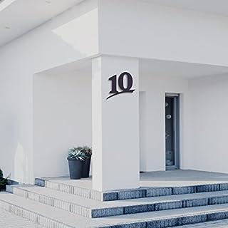 Hausnummer 10 ( 16cm Ziffernhöhe ) in Anthrazit-grau, schwarz oder weiß, 6mm stark aus Acrylglas - Original ALEZZIO Design - Rostfrei, UV-beständig und abwaschbar, Anthrazit wie Pulverbeschichtet RAL 7016, mit Montageschablone