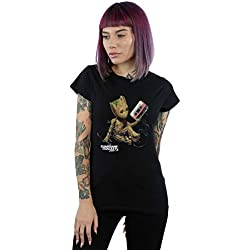 Marvel Mujer Guardians of The Galaxy Groot Tape Camiseta Negro Small