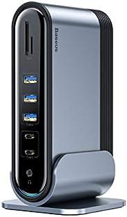 قاعدة شحن USB C، قاعدة شحن للكمبيوتر المحمول ثنائية العرض مع منفذ HDMI/VGA، صوت، جيجابت، 5 منافذ USB، 100 واط