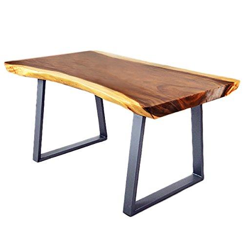 Divero Esstisch Baumtisch Esszimmertisch Suarholz-Tisch mit Baumkante Metallbeine – massiv geölt modern stabil Handarbeit – 160 x 80 x 76 cm