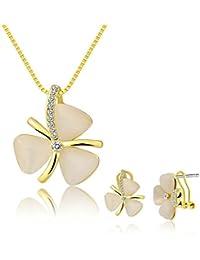 Adisaer Damas Aleación de Metal Conjunto Joyería Collar Pendientes Oro/Oro Rosa Cristal Triángulo Ópalo Trébol Joyería Para Mujeres Regalo