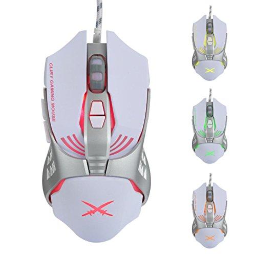 kabelgebundene Maus, hunpta X2USB Wired 4800dpi 7Tasten optische Gaming Maus LED-Hintergrundbeleuchtung für PC -