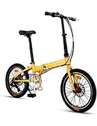 AOHMG Bicicleta Plegable Ciudad Adulto Bici Plegable, 7- velocidades Peso Ligero Marco Reforzado,