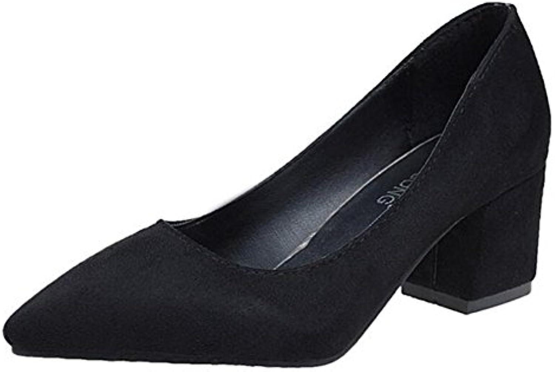 Zapatos de tacón alto para mujeres Tip High Heels Four Seasons Zapatos de trabajo Comfort Coarse Heel Shoes Black...