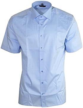 Eterna Herrenhemd Kurzarm Modern Fit Blau Businesshemd Business Elegantes Hemd Herren Freizeithemd Baumwollhemd