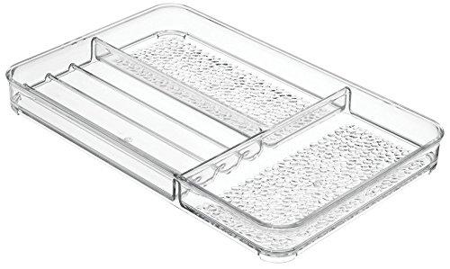 Interdesign rain organizer per trucchi, vassoio per accessori cosmetici in plastica, trasparente
