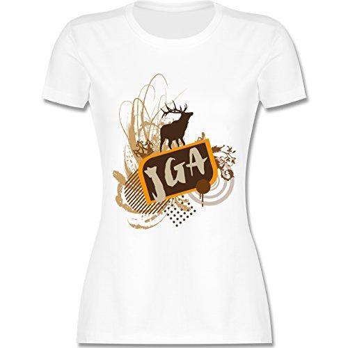 JGA Junggesellinnenabschied - JGA Hirsch Grunge - tailliertes Premium T-Shirt mit Rundhalsausschnitt für Damen Weiß