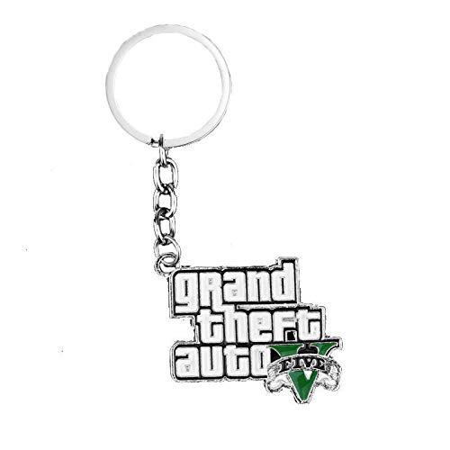 TUDUDU Mode Schmuck Schlüsselanhänger Ps4 GTA 5 Game Keychains Grand Theft Auto 5 Metal Keyrings for Men and Women Fans Accessories