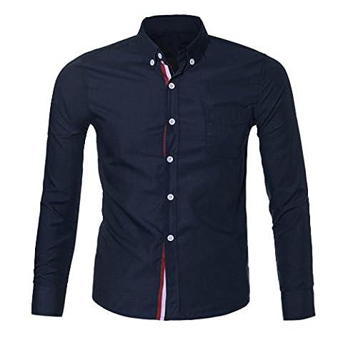 Lanspo Fashion Mens Luxury Long Sleeve Casual Slim Fit Stylish Shirts (M, Dark Blue)