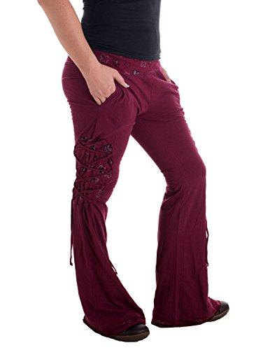Vishes – Alternative Bekleidung – Hippie Schlaghose aus Baumwolle – mit Bändern und Blumendruck Dunkelrot