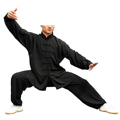 KIKIGOAL Unisex Tai Chi Anzug Damen und Herren Kung Fu Uniformen Kampfsport Baumwolle Flachs und Seide Chinoiserie, Schwarz, L