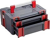 Connex Systembox - Mit zwei Schubladen - 13,5 Liter Volumen - 80 kg Tragfähigkeit - Individuell erweiterbares System - Stapelbar - Aus robustem Kunststoff / Stapelbox / Werkzeugkiste /...