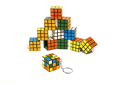 Flanacom Zauberwürfel Magic Cube Mini 3x3 12er Set Original Brainteaser Spiele für Unterwegs Kinder Geduldspiel (Schlüsselanhänger) - 3 X 3 Mini