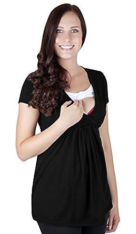 Mija - Umstandsmode / 2in 1 Stillshirt Umstandsshirt / Stilltop Umstandstop 7104 (XXL / EU44, Schwarz)