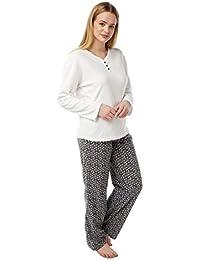 Indigo Sky Ladies Long Sleeved Fleece Pyjamas. Grey White. Sizes 8-10 6ce4f981d