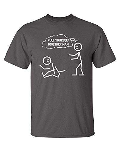 RUAN HOME Pull Yourself Together Man! Novelty Sarcastic Funny Stick Figure Tee by