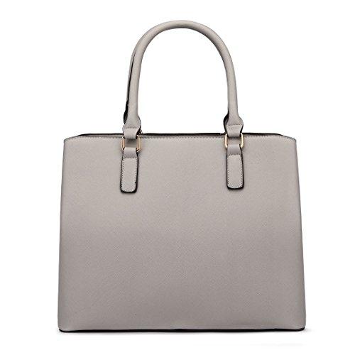 Miss LuLu Handtasche Damen Aktentasche Schultertasche Tote Bag PU-Leder Elegant (LT6611-Wein) LT6611-Hellgrau