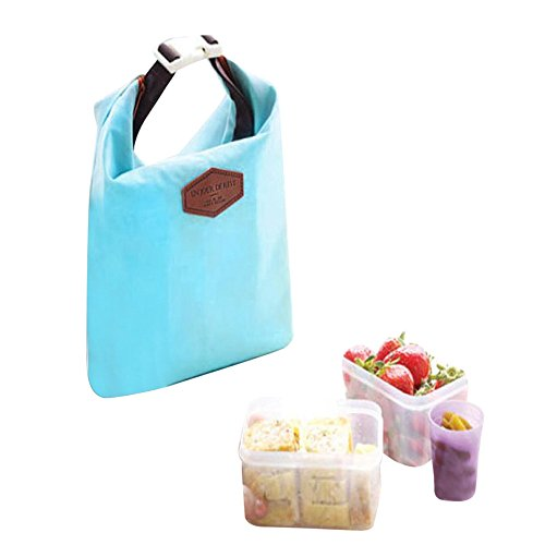 Muamaly Isolierte Kalte Segeltuchstreifen-Picknick-Tragetasche Thermische Tragbare Lunchpaket - Tote Portable Iso-Pouch Cooler Wasserdichte Aufbewahrungstasche Für Lebensmittel (Blau)