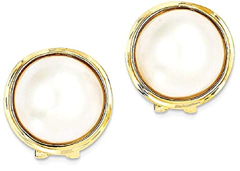 IceCarats 14k Yellow Gold 14 15mm Cultured Mabe Pearl Post Stud Ball Button Earrings