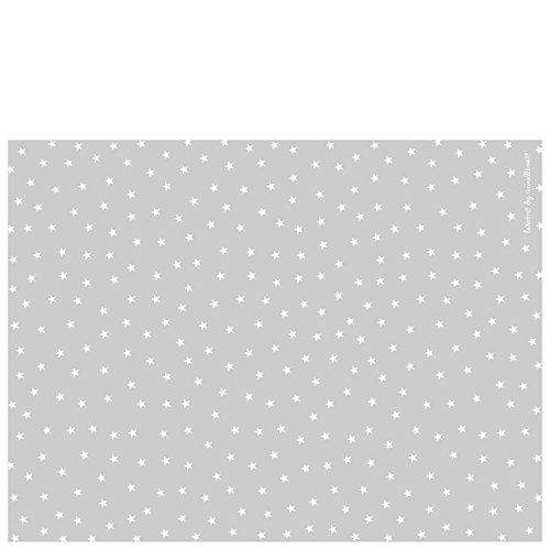 Laroom Alfombra Vinílica Infantil Diseño Estrellas, Vinilo Antiliscante, Gris, 133x200 cm