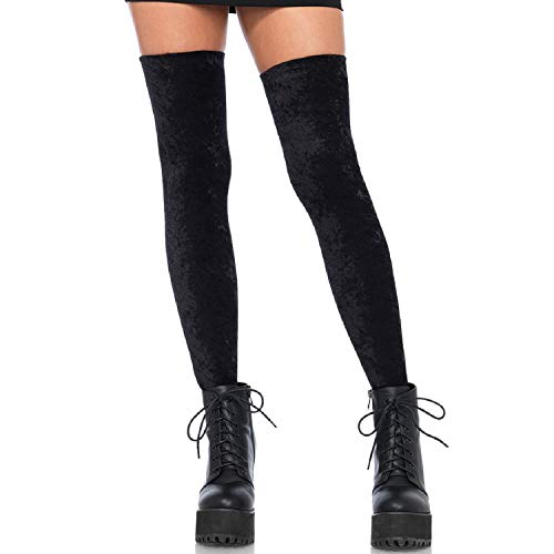 Leg Avenue 6346-Crushed Velvet Thigh highs, talla única, color negro