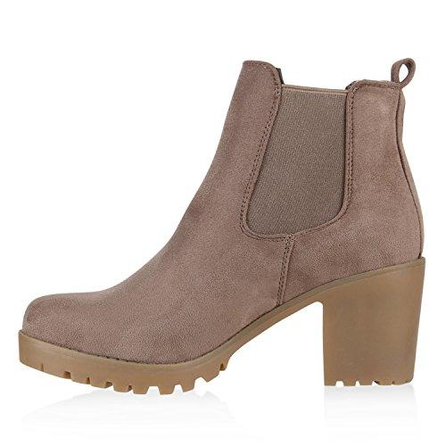 Damen Stiefeletten Chelsea Boots Profilsohle Blockabsatz Khaki