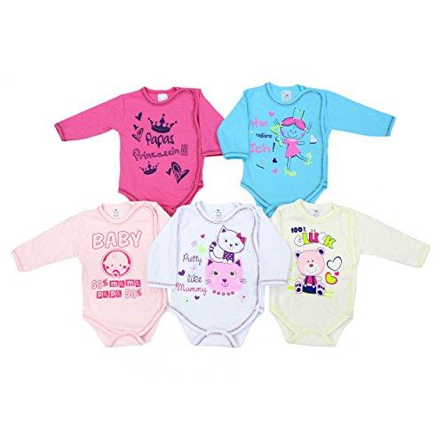Baby Langarm-Wickelbody mit Aufdruck Spruch Mädchen Baby-Body Set Jungen 100% Baumwolle, Farbe: Mädchen, Größe: 68