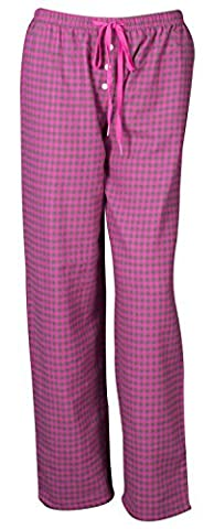 Ladies Soft Lounge Pants Bottoms Pyjamas Nightwear Checked Flannel Pyjama Bottom(UK-55) (MEDIUM, PINK / CHARCOAL CHECK)
