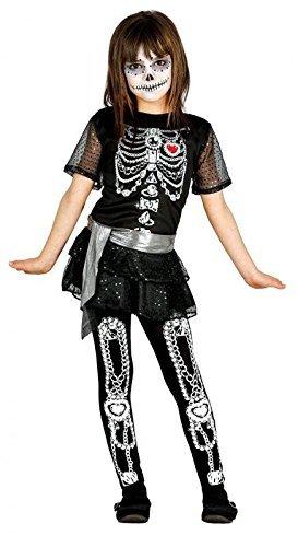 Skelett Mädchen Kostüm für Halloween Skelettkostüm Halloweenkostüm Gr. 110-146, Größe:110/116 ()