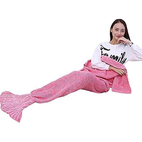 SaiDeng Sirena Cola Manta Todas Las Temporadas De Punto Ganchillo Cobija Bolsa De Dormir Pink 95