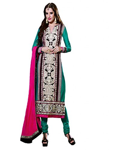 Inddus Women Silk Embroidered Embellished Green Anarkali Salwar Kameez