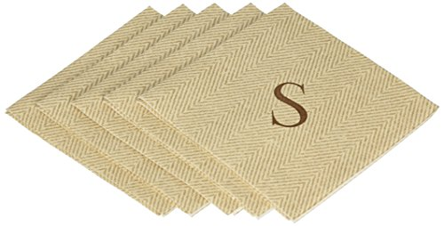 Caspari Monogram Cocktail-Servietten mit Initiale S, Fischgrätmuster 30 Stück