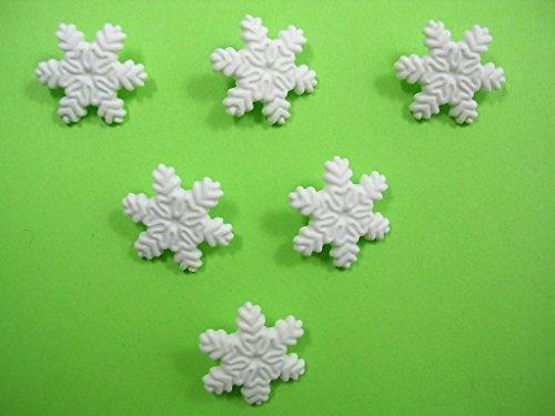 eflocke Schnee weiß 17mm Neuware, ideal für Ihre Basteln, Scrapbooking, Kurzwaren, Couture, Strick. Knopf Kinder oder Erwachsene Kunststoff, Nähmaschine durch eine Schnalle Hinten. ()