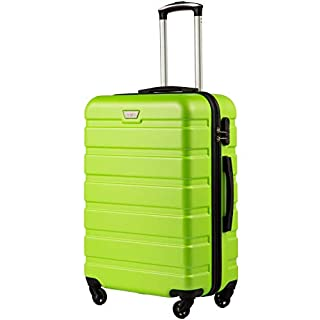 COOLIFE Suitcase Trolley Carry On Hand Cabin Luggage Hard Shell Travel Bag Lightweight 2 Year Warranty Durable 4 Spinner Wheels(Apple Green, S(56cm 38L))