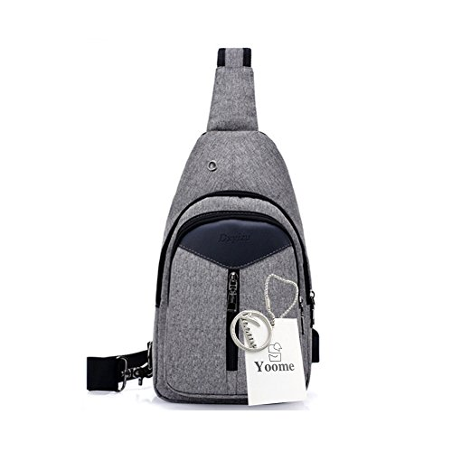 Zaino Yoome Sling con porta USB di ricarica Borsa tracolla resistente allacqua allaperto spalla pacchetto petto crossbody per le donne uomini ragazze ragazzi viaggio Daypack - nero Grigio scuro
