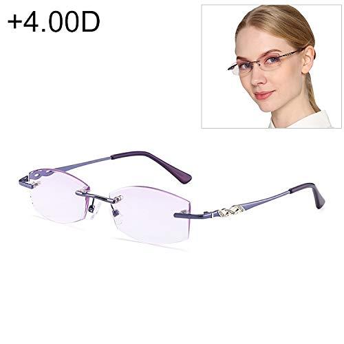 Yiph-Sunglass Sonnenbrillen Mode Frauen Randlose Strass getrimmte lila presbyopische Brille, 4.00D